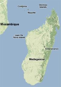 Mappa del Madagascar e Mayotte