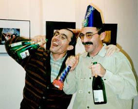 borrachos en cena navideña