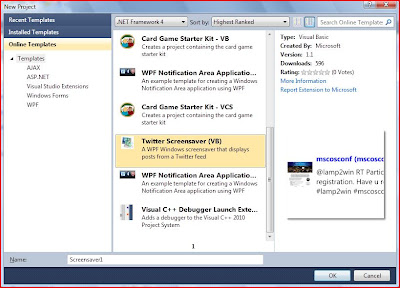 Visual Studio 2010 Online Project Templates
