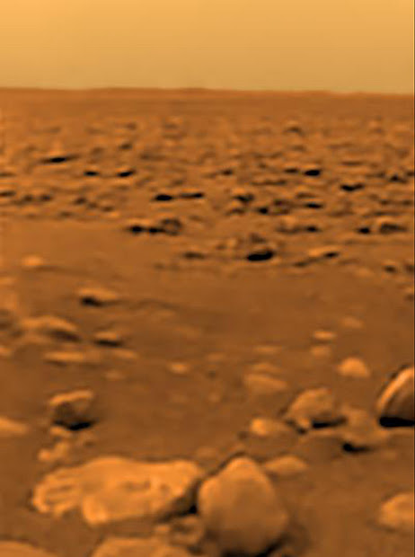 The first color view of Titan's surface taken by the Huygens probe