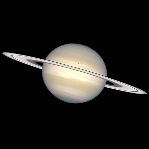 A rare picture of Saturn in natural colours, taken by Hubble