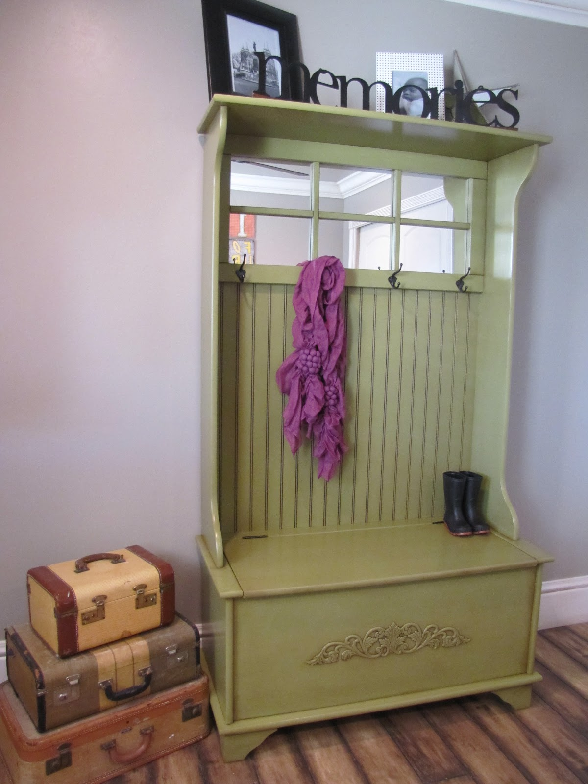 Restoration Furniture Storage Bench Coat Rack