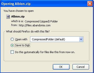 Saving the Albion zip file
