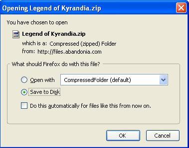 Saving Legend of Kyrandia zip file