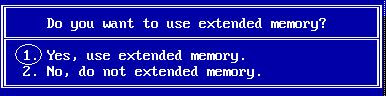 Selecting extended memory
