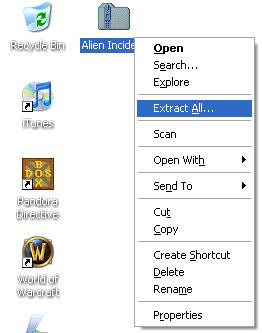 Extracting Alien Incident zip file