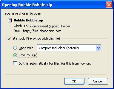 Saving Bubble Bobble zip file
