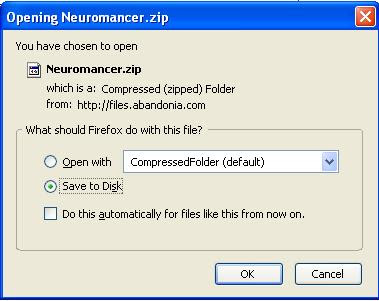 Saving Neuromancer zip file