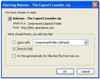Saving PC game zip file