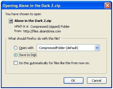 Saving the PC game zip file