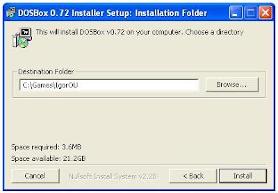 Dosbox installation program