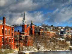 St. Anne's Church, a view from the Androscoggin River
