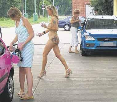 german woman nude gas stop