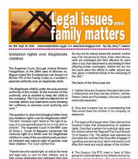 Free PDF newsletter on visitation rights over illegitimate children