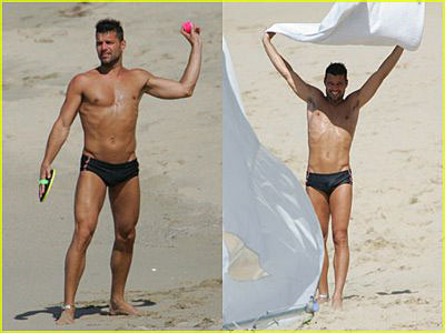 Ricky Martin Nude cock on the beach! MAN OF THE