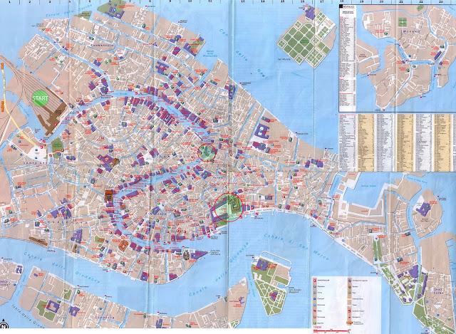 Туристическая карта Венеции с достопримечательностями на русском языке и в большом размере