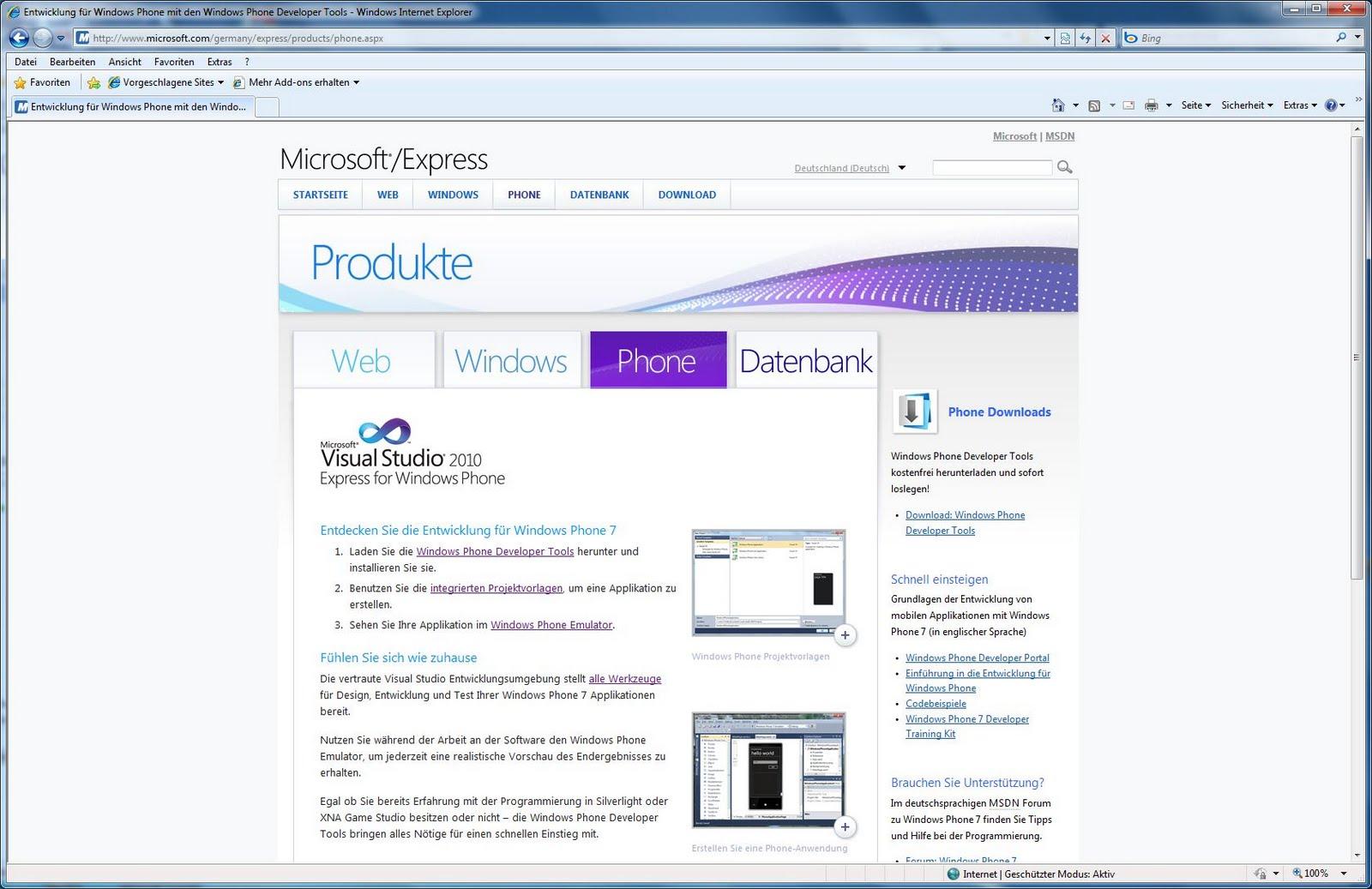 Visual Studio 2010 Express for Windows Phone - PC-WELT