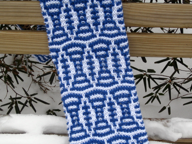 Verdigris Knits: Next SuperScarves Pattern - The Football Mosaic Scarf