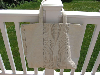 Cream Stripes Tote Bag side 2