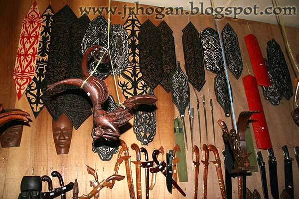 Iban warrior shields and daggers