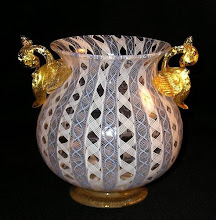 19th-20th C. Latticino Vase