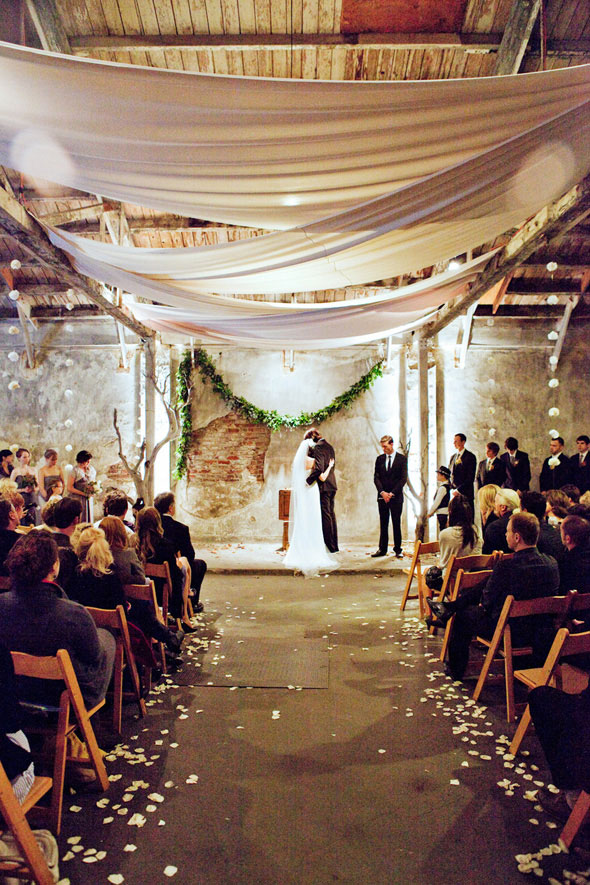 modern draping loft ceremony wedding