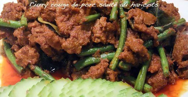 Porc et haricots sautés au curry Thaï