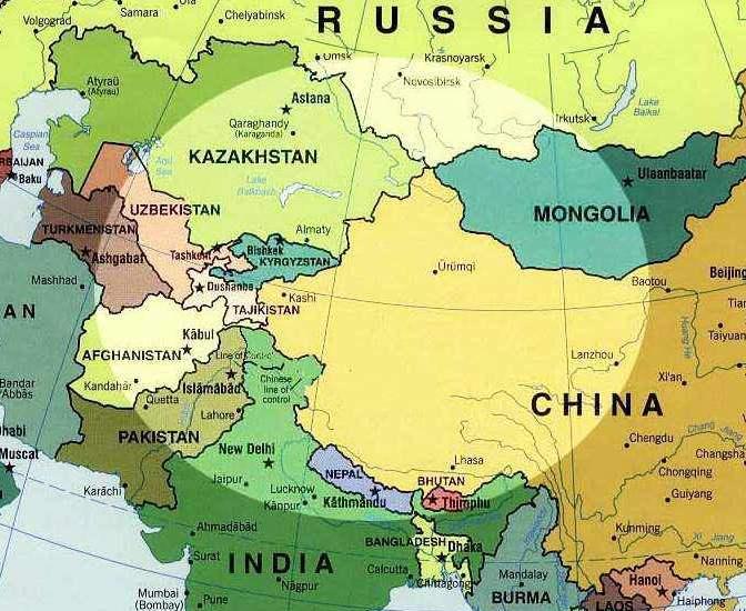 La route de la soie 2010: Ouzbékistan et Kirghisistan: Carte d'Asie centrale