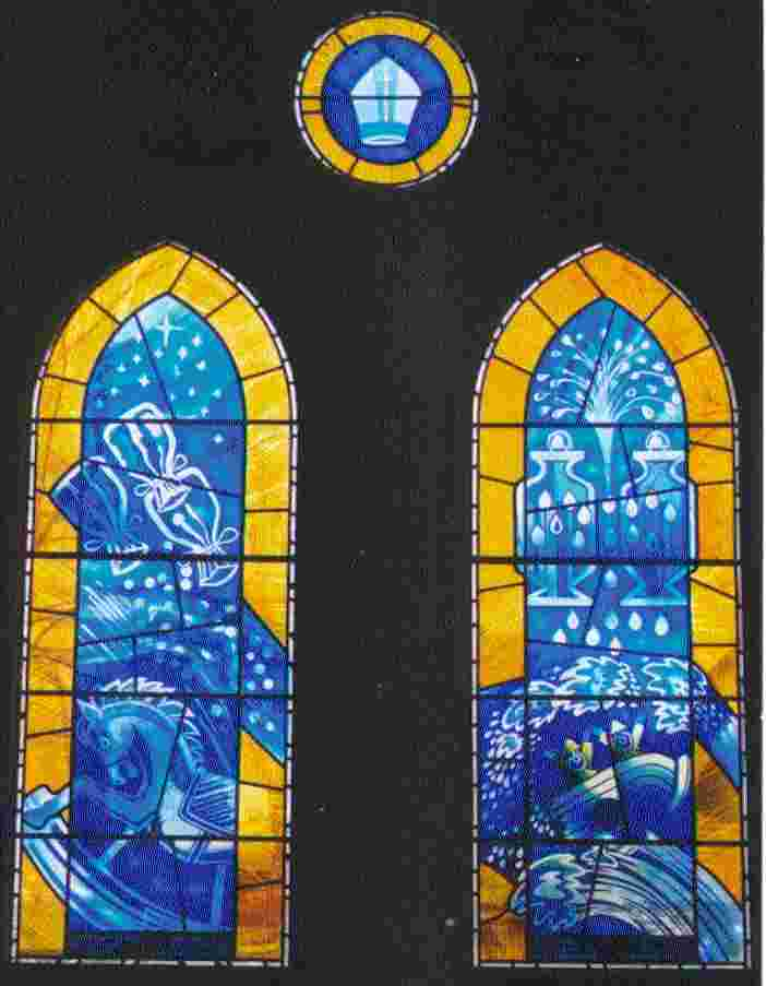 The sixteen stained glass windows in swansea for 16th street baptist church stained glass window