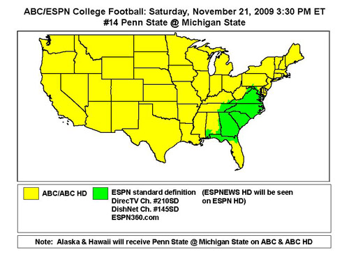 The Other Side of Spartan Sports: Coverage Map: MSU-Penn State on
