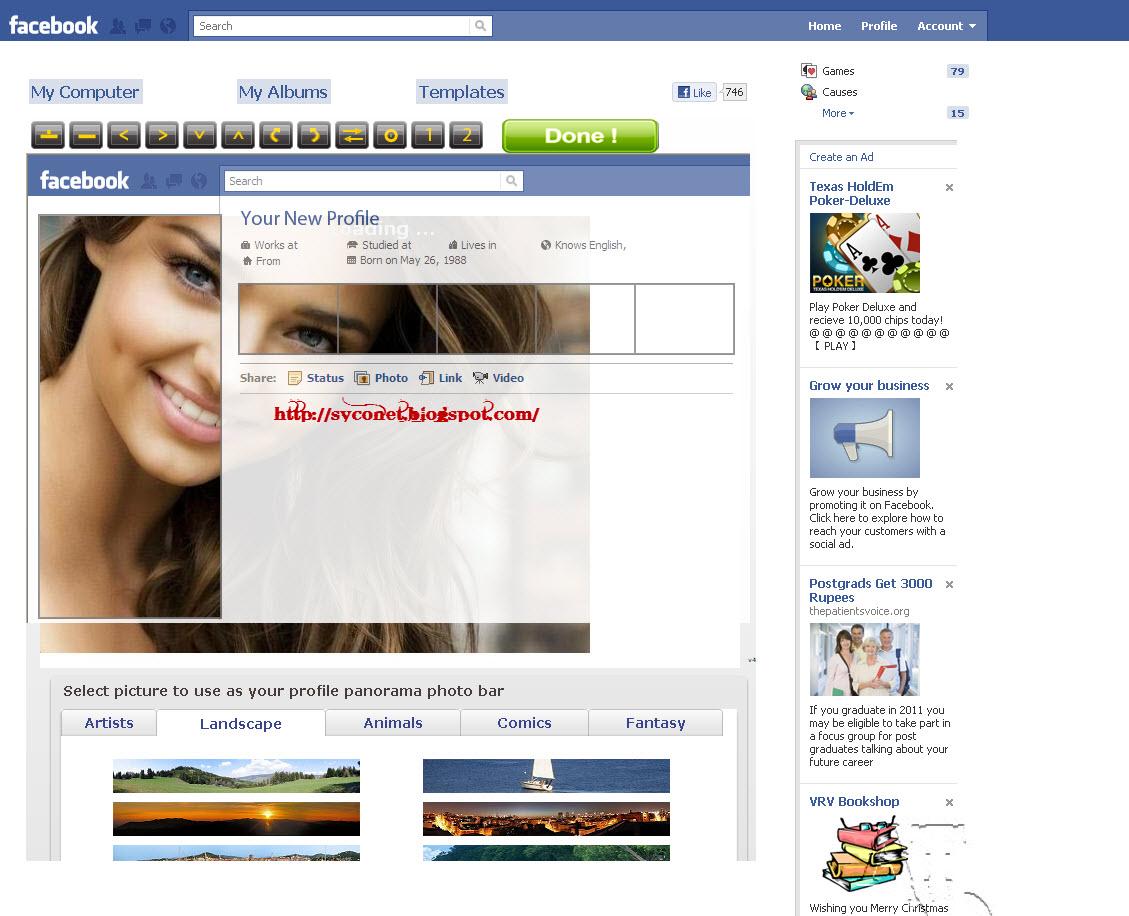 Create Your Own Facebook Profile Photo Theme Templates | Syconet Geek