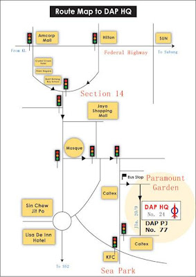 map to Lau Weng San's service center