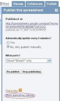 Google Spreadsheet Publishing Options