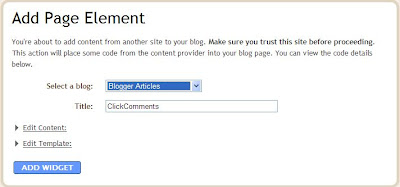 ClickComments Blogger page