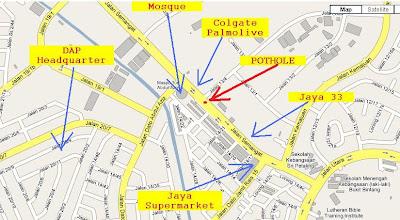 map Jalan Semangat, Jalan 13/4, Colgate Palmolive, Jaya 33, Jaya Supermarket, Masjid Tun Abdul Aziz, DAP Headquarter