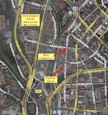 location map Malaysia Bar Council at Lebuh Pasar Besar