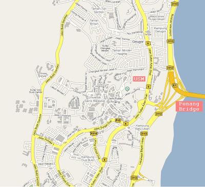 location map of USM (Universiti Sains Malaysia