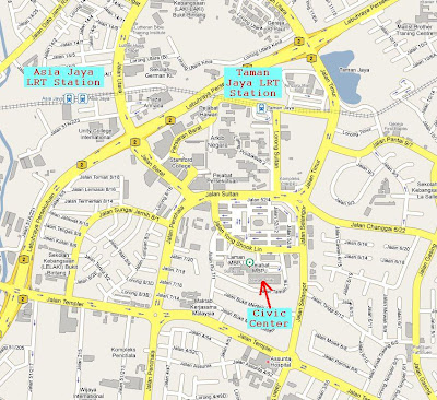 location map Dewan Sivik Petaling Jaya