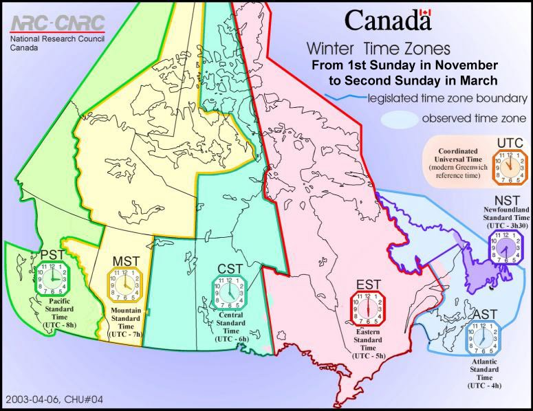 Canada has six time zones spanning a four and a half hour time
