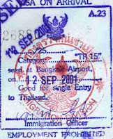 Sello del visado de llegada