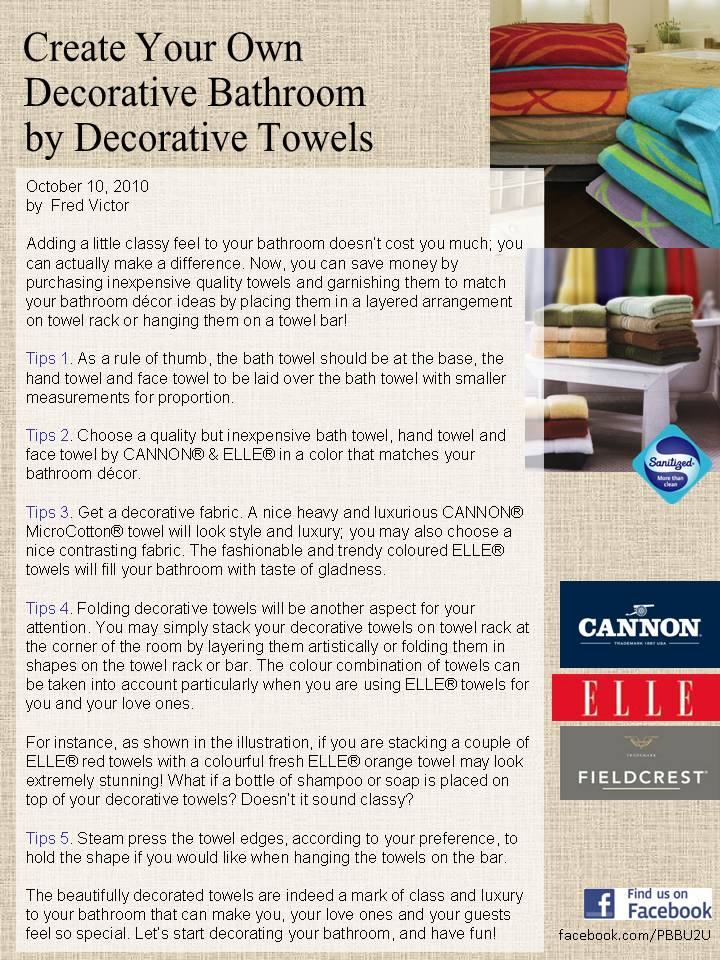 EASTERN DECORATOR Create Your Own Decorative Bathroom By Decorative Towels