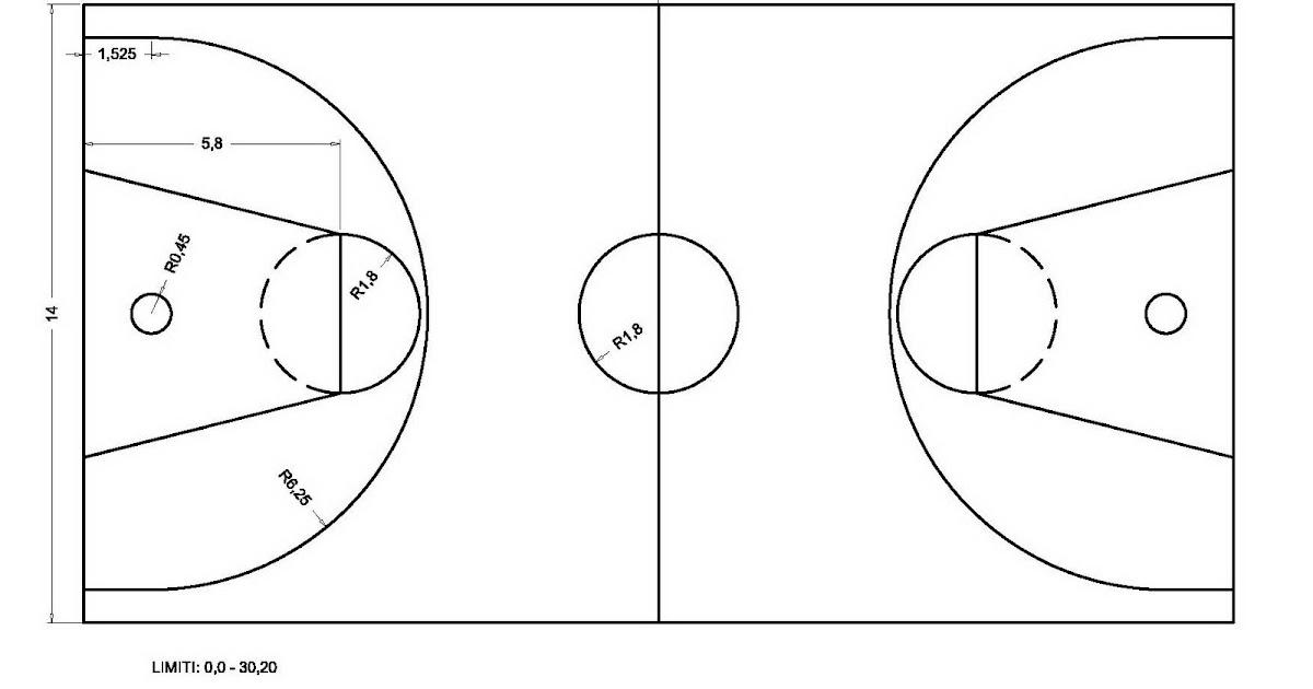 Autocad campo di pallacanestro con autocad - Immagini stampabili di pallacanestro ...