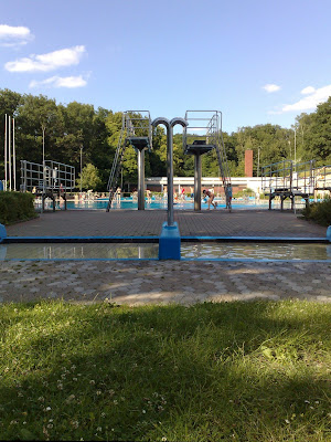 diving, freibad, swimming pool