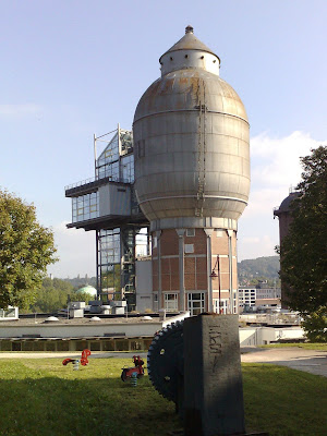 cinema, steel works, water tower