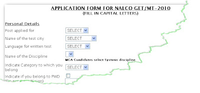NALCO Recruitment 2010 Online Form