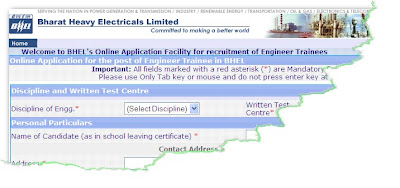 BHEL ET Online Application Form 2011