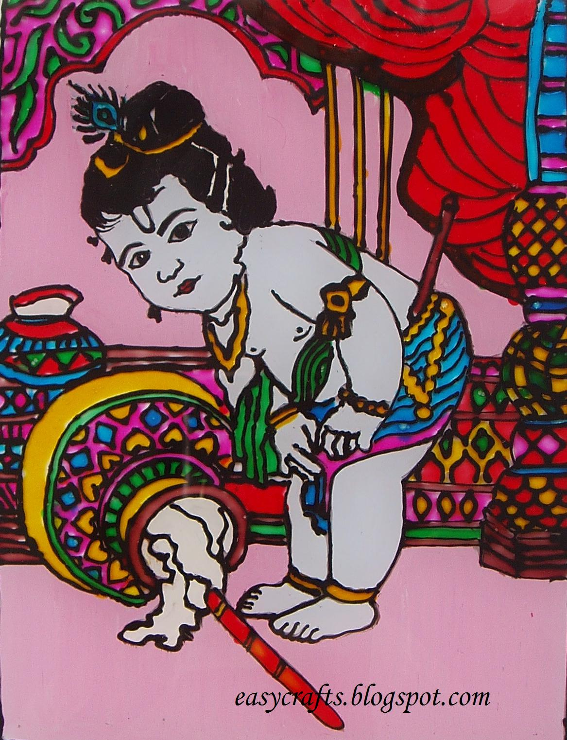 The gallery for glass painting designs of krishna outline for Easy glass painting designs