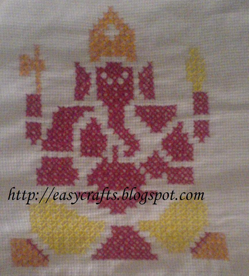 Ganesha pattern in cross stitch done long back for transistor cover