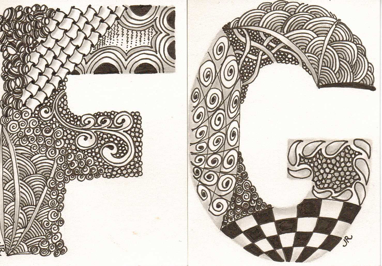 The Letter F Zentangle