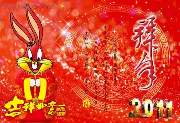 Happy Chinese New Year Card Rabbit. Happy Chinese New Year Card